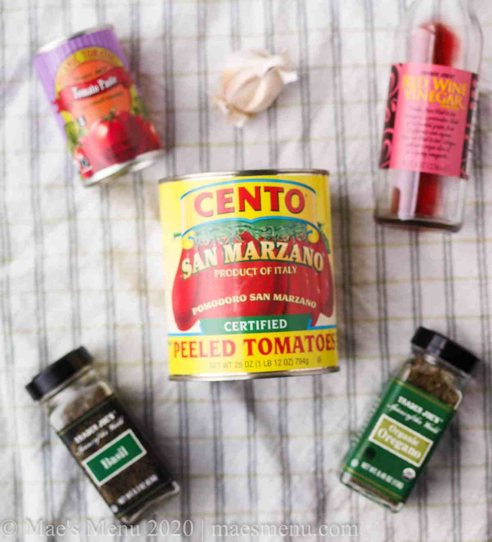 All the ingredients for easy homemade pasta sauce.
