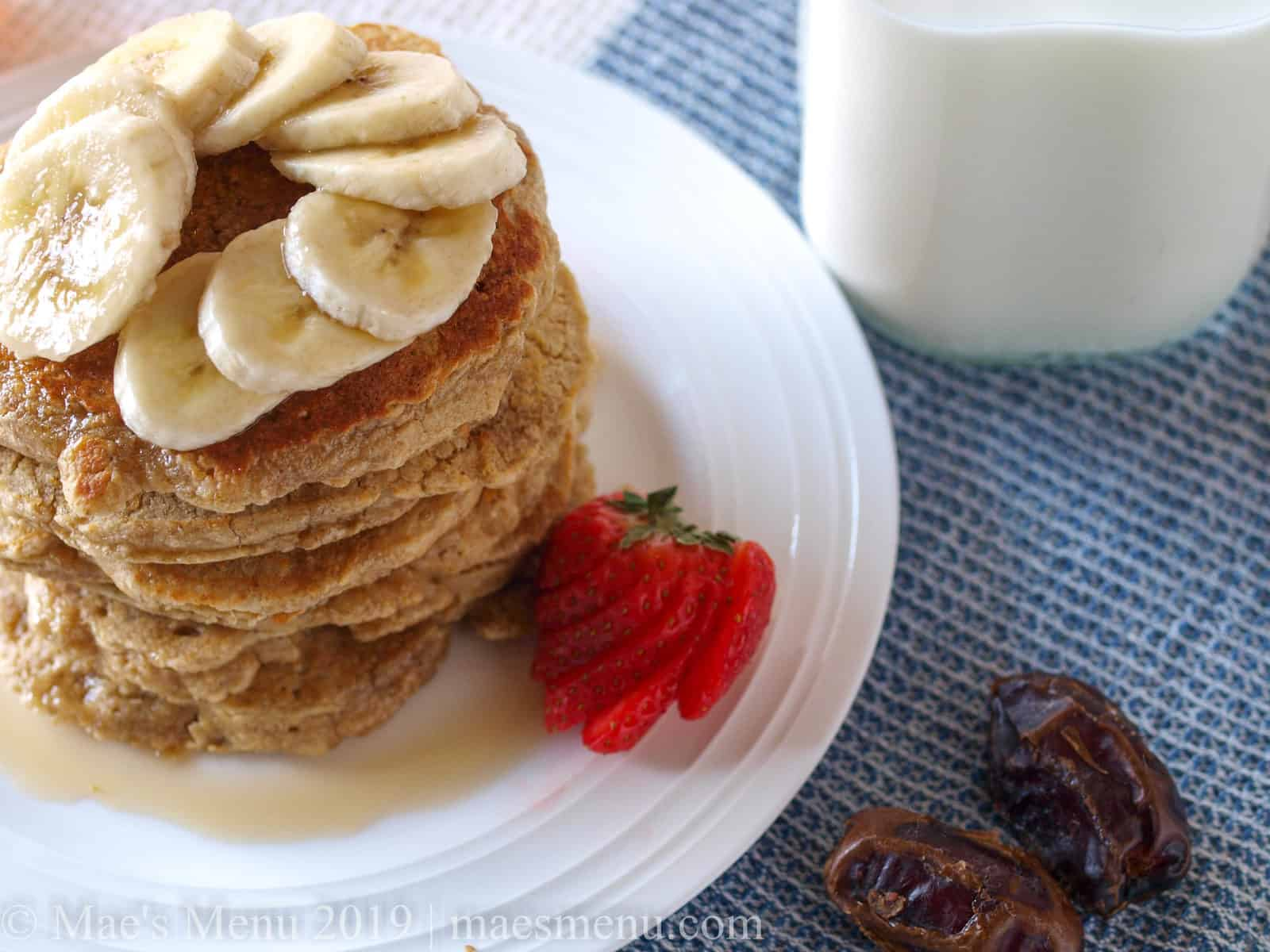 A stack of oatmeal blender pancakes