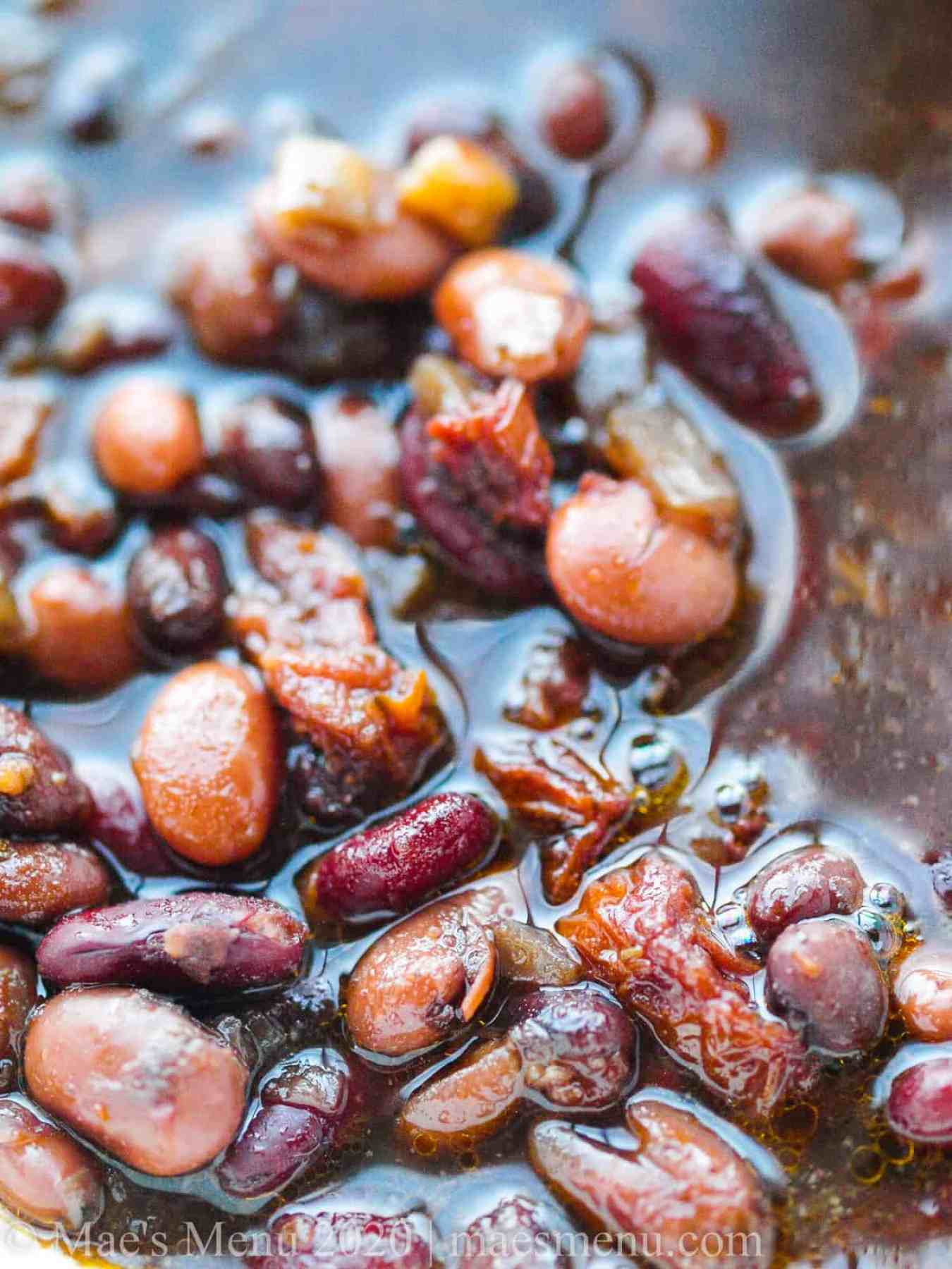 Up-close shot of pressure cooker maple baked beans.