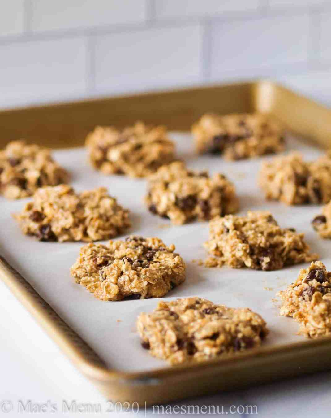 a baking sheet of oat protein oookies
