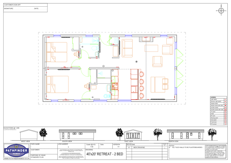 Maes Mynan Park 40X20 Retreat Lodge - 2 BED Floor Plan