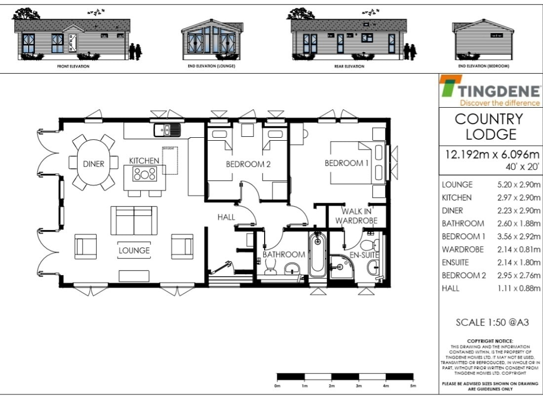 The Country Lodge Floor Plan 40' x 20' Tingdene