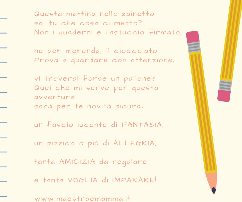 poesia per l'accoglienza scuola primaria