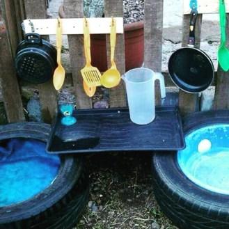 Travasi scuola materna asilo nido materiale di recupero: water area