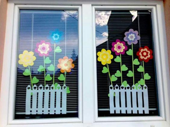 Decorazione Finestre Autunno : Decorazione primavera finestra sezione classe lavoretto asilo nido