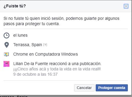 quién entra en mi cuenta de Facebook