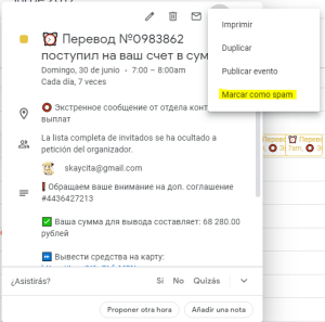 Spam en Google Calendar