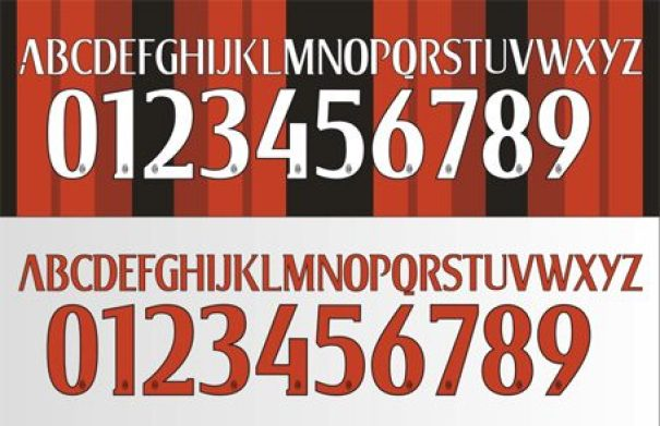 Font AC Milan-buat baju bola