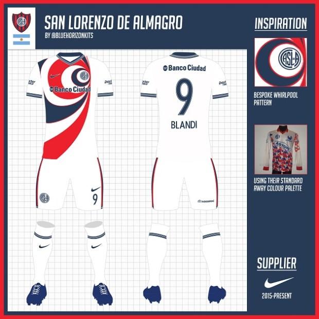 desain kostum futsal terbaik depan belakang san lorenzo