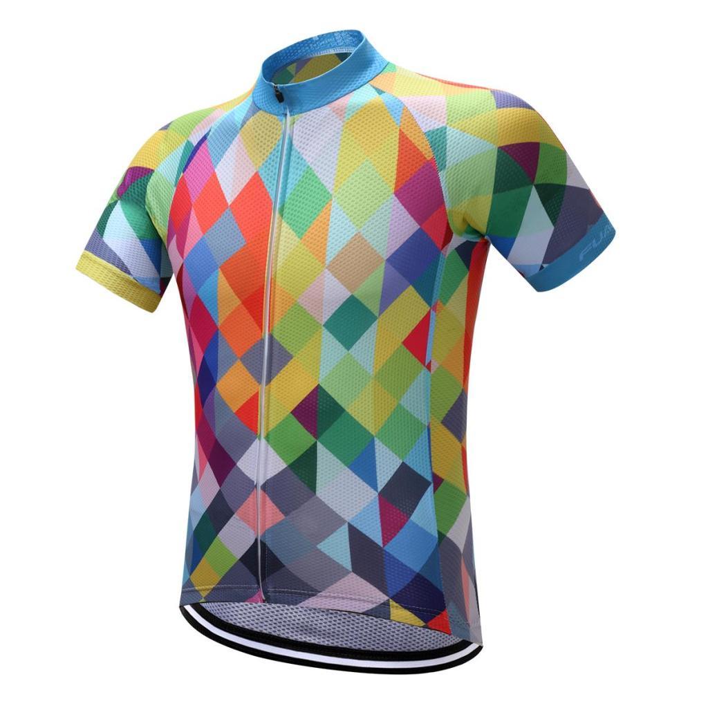 desain jersey sepeda motif segitiga warna warni