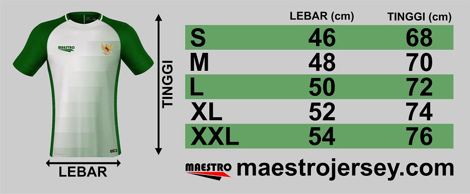 daftar ukuran atau size jersey