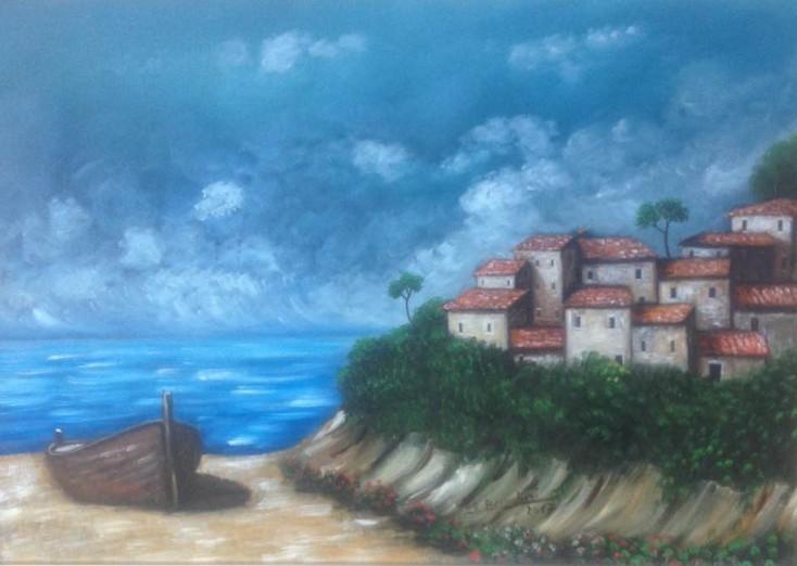 Paesaggio di mare con barca in primo piano  Maestro Roberto Bernabini