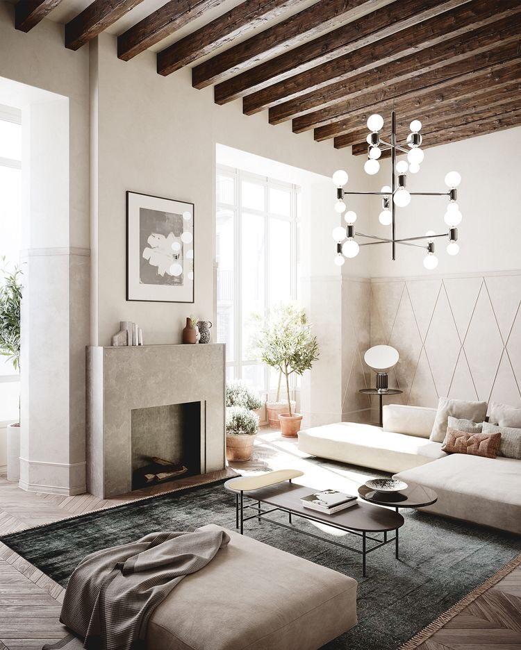 Деревянные балки на потолке в современном интерьере.