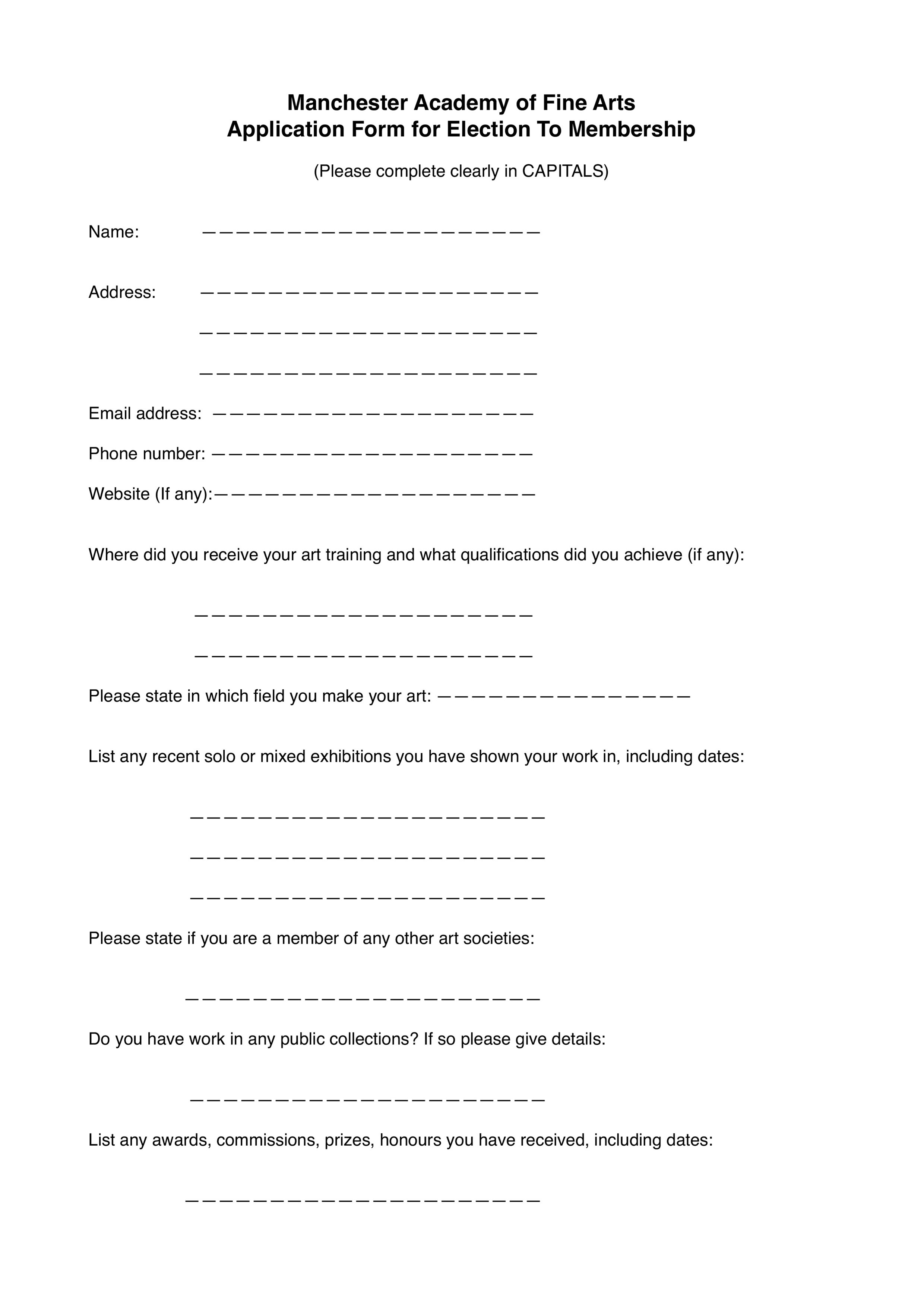 MAFA 2019 Application Form