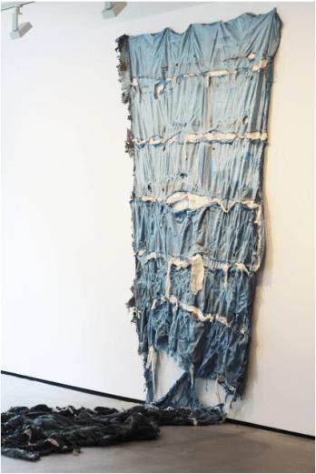 Georgina Hodgson, 'Garage (West Sussex)', 2014, Prevul Latex, paint, hemp, fabric, modroc, debris, rag, 2m x 8m, in 'Rubber Soul' at Soho Revue, London. Image courtesy the artist and Soho Revue.