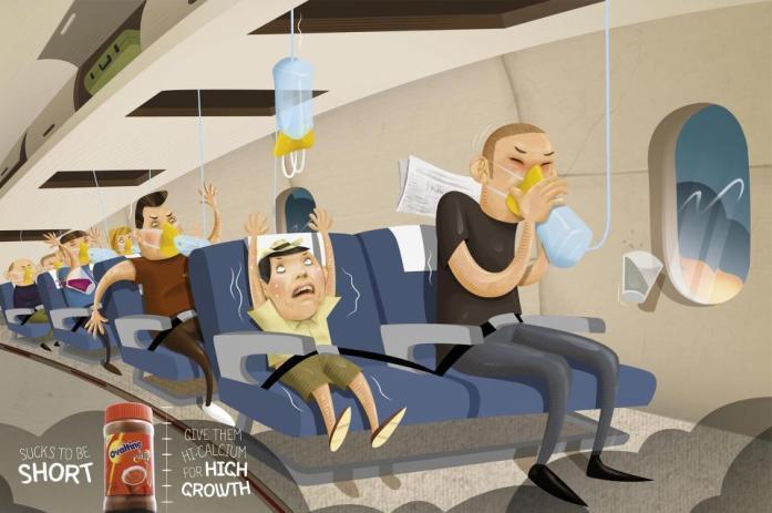 Adultes avec masques à oxygène dans avion, enfant paniqué sans masque à oxygène. Si votre fils va mal, à qui mettez-vous le masque en premier ? (dessin d'une publicité vietnamienne, Agence Y&R, Vietnam) Mafamilledeouf
