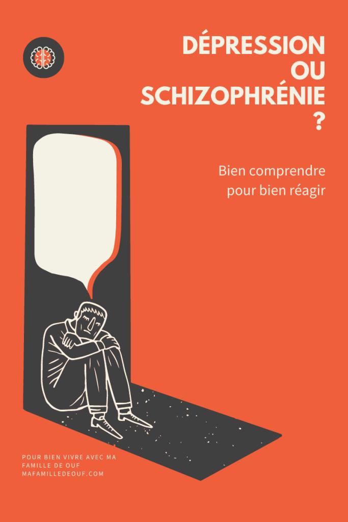 Dépression ou schizophrénie. Bien comprendre pour bien réagir. L'image est le dessin d'un homme assis par terre, l'air triste avec une bulle de dialogue vide.