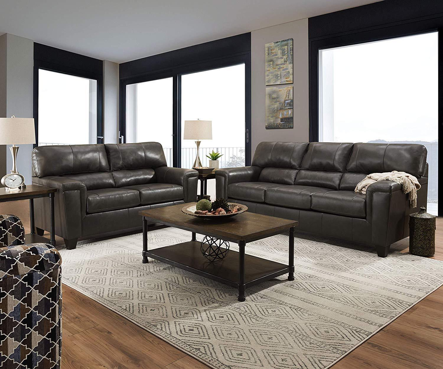 2038 lane furniture soft touch fog leather sofa and loveseat set