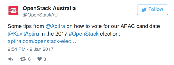 OpenStack Australia suggesting to vote for Kavit as 'our APAC candidate'