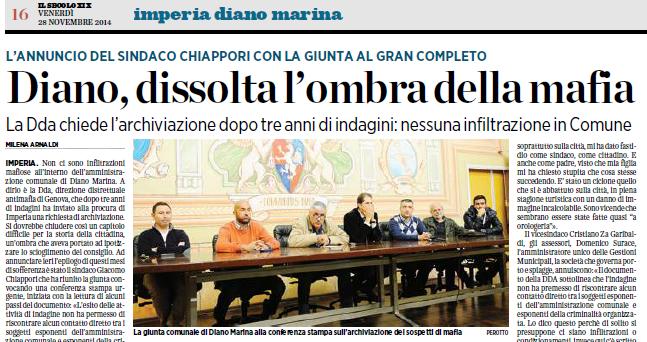 Diano Marina, dissolta l'ombra della Mafia