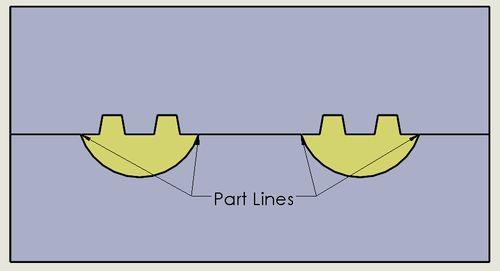 剖面圖時的分模線(Part Lines)位置