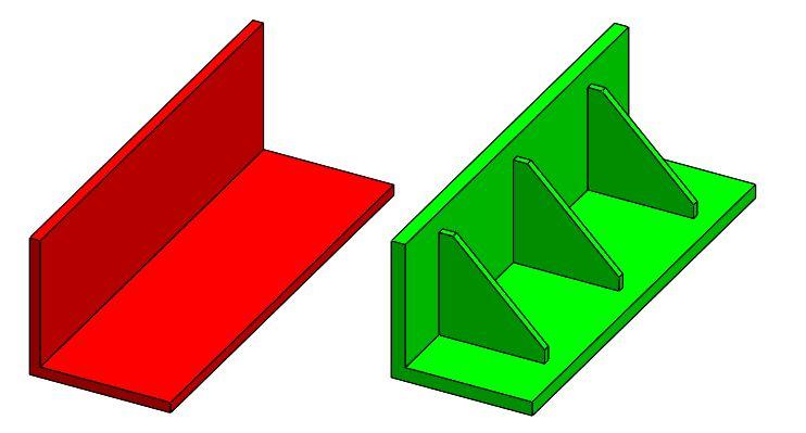 紅色零件缺少支撐肋,反之綠色零件為正確示範。