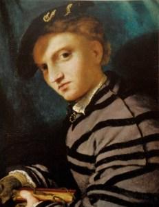 Lotto apertura Ritratto di giovinetto col petrarchino 1524-1527