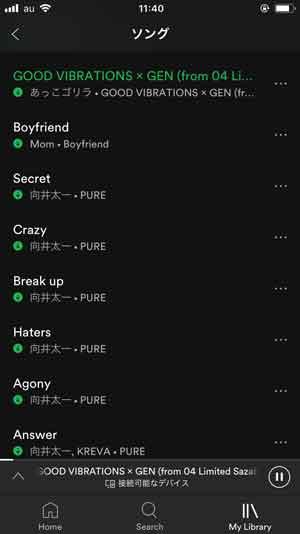 Spotifyのソングリスト