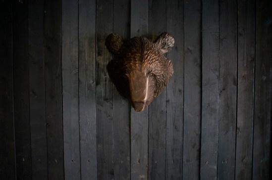 Metal bear's head