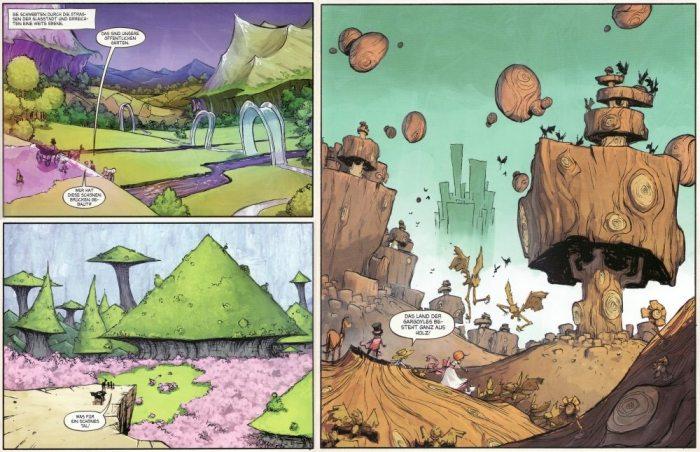 Oben links: Das Land der Mangabus Unten links: Das Tal von Voe Rechts: Das Land der hölzernen Gargoyles