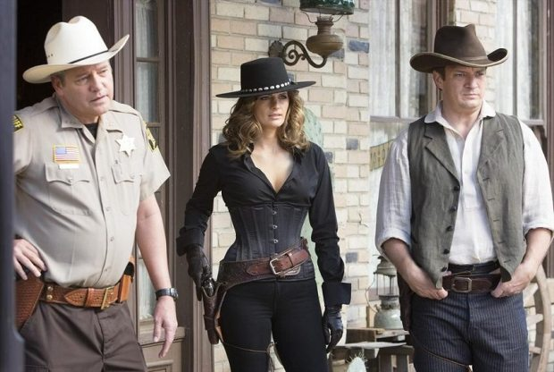 "CASTLE - ""Once Upon A Time in the West"" - When Castle and Beckett learn that a murder victim may have been poisoned at an Old West-style resort, they visit the resort posing as newlyweds to uncover the truth, on ""Castle,"" MONDAY, NOVEMBER 17 (10:01-11:00 p.m., ET) on the ABC Television Network. (ABC/Michael Desmond) DALE MIDKIFF, STANA KATIC, NATHAN FILLION"