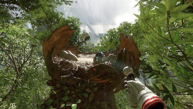 Sieht aus wie die Ingame-Entsprechung zum Move-Controller der PS4, wird aber mit dem Joypad gesteuert: Das Multiwerkzeug, mit dem Held Robin seine urzeitliche Umgebung scannt und 'telekinetisch' manipuliert.