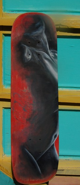 Basilica, oil on recycled skateboard, 2012, sold
