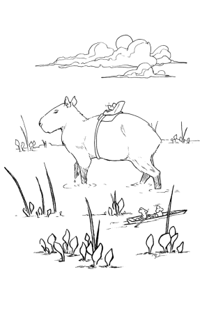 Drawing of a mouse riding a capybara in a swamp. Other mice looking at him from their small boat.