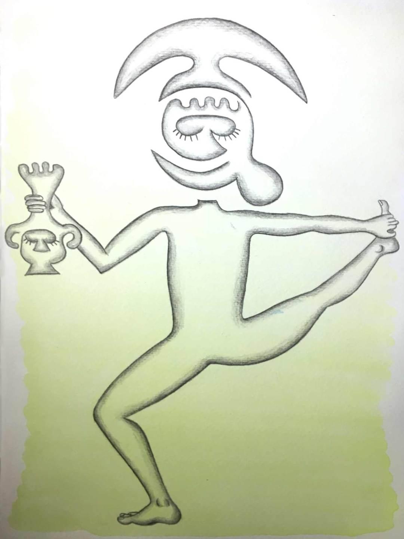 Sipán se prend la tête et le pied | 18 cm x 24 cm