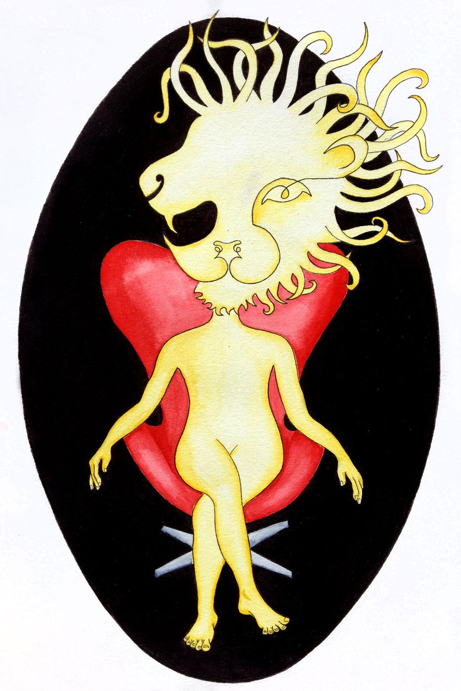 Lion sur un eggchair Jacobsen