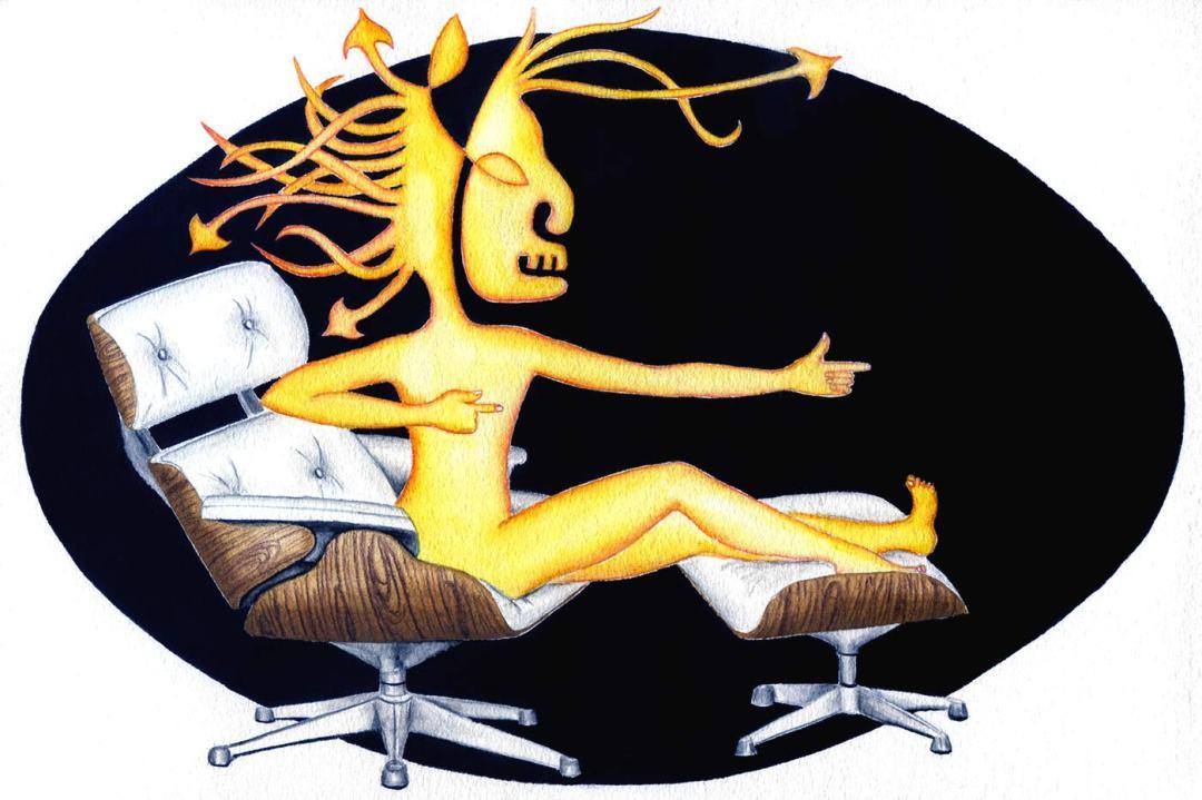 Sagittaire sur un fauteuil lounge de Eames   20 x 30 cm