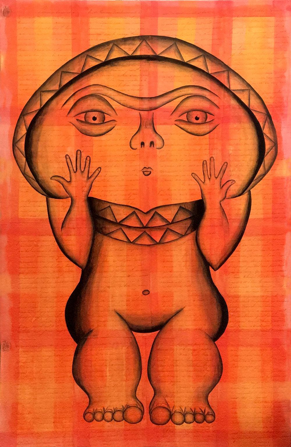 La cruche savante  | 60 cm x 80 cm |Papier ancien marouflé sur toile