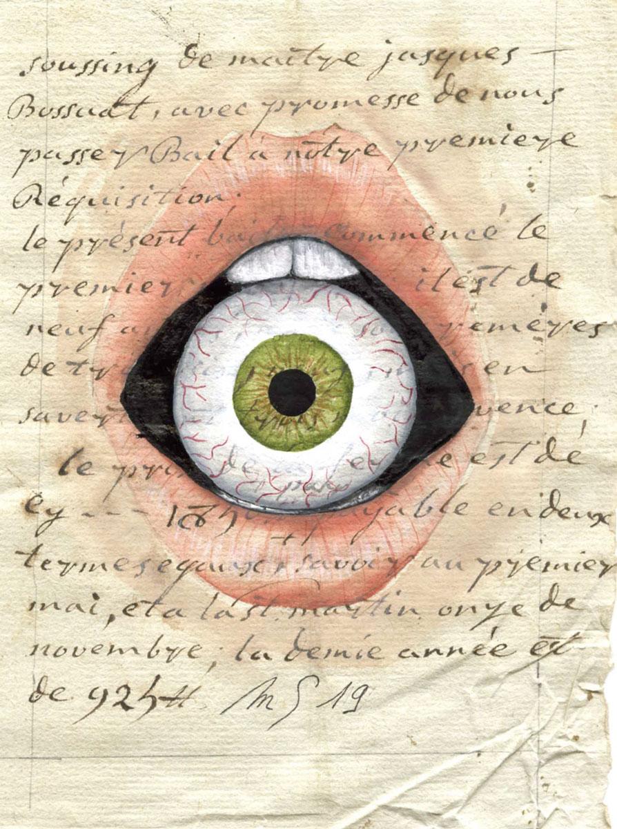 L'oeil à la bouche   13 cm x 9 cm