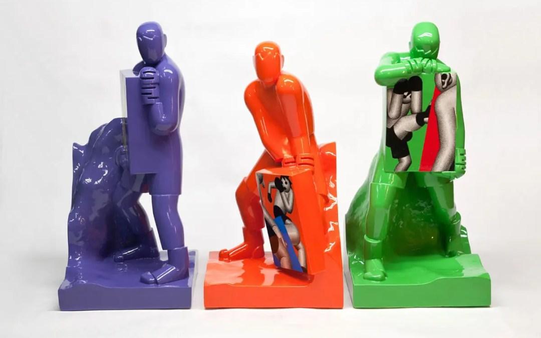 Keramisk boksing i popart-stil