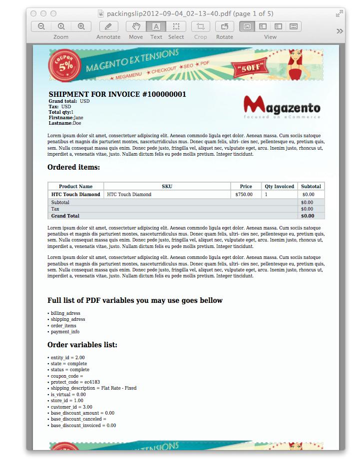 Magento PDF invoice shipment credit memo - Magazento.com