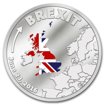 Stříbrná mince Brexit v nominální hodnotě 1 dolar