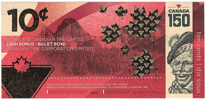 Neoficiální deseticentové kanadské bankovky Canadian Tire