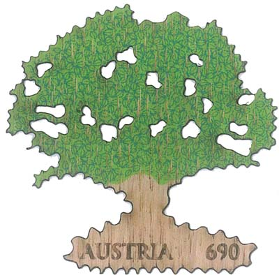 Nové rakouské známky z dubového dřeva