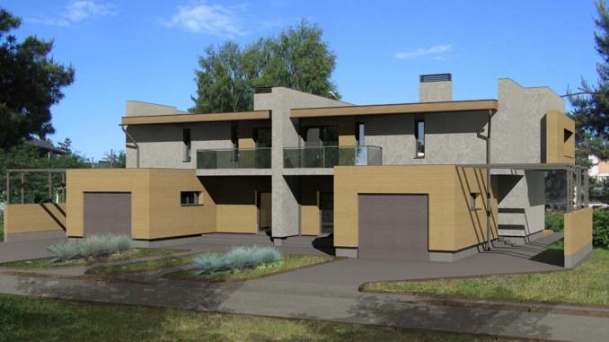Проект двухэтажного дома с плоской крышей на две семьи