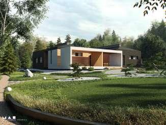 Проект современного одноэтажного дома с патио