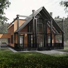 Проект деревянного модульного дома для семьи из четырёх человек