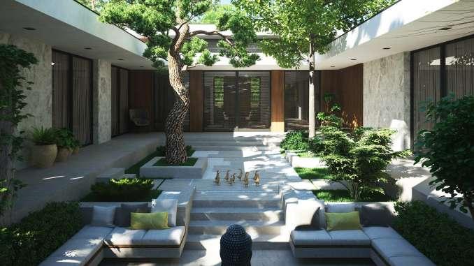 Проект минималистского дома с двориком