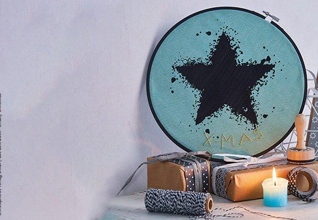 DIY mit Kreidefarbe: Stern im Stickrahmen basteln