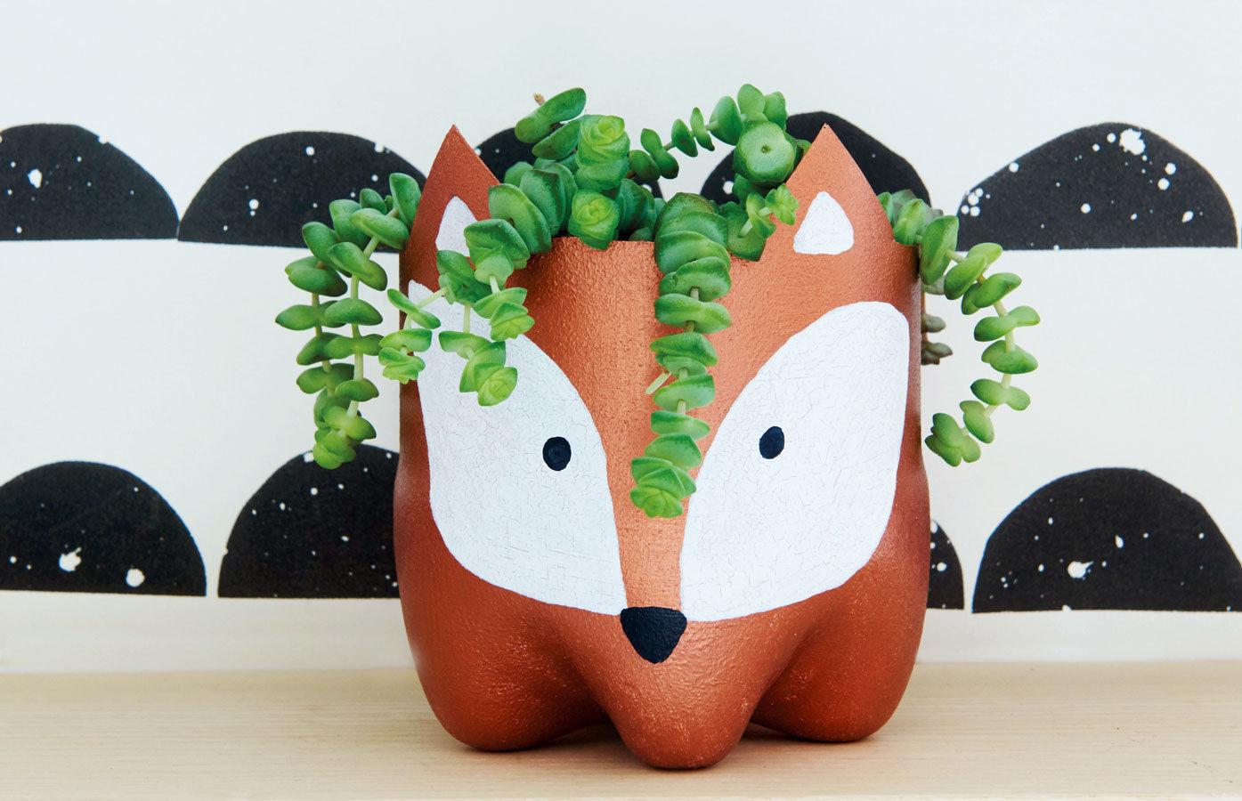 Makerist-Basteln-mit-Kindern-50-DIY-Projekte-Fuchs-Blumentopf